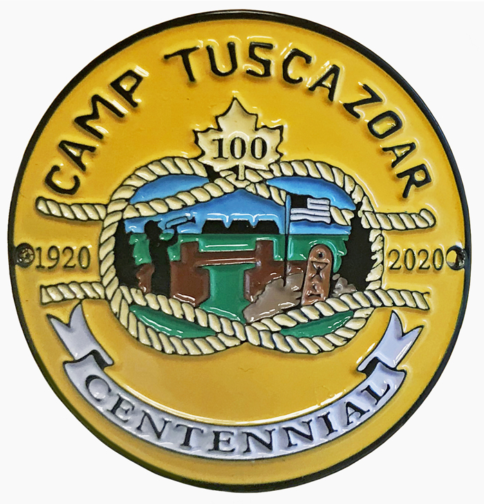 This image has an empty alt attribute; its file name is Camp-Tuscazoar-100th-hiking-medallion-web.jpg