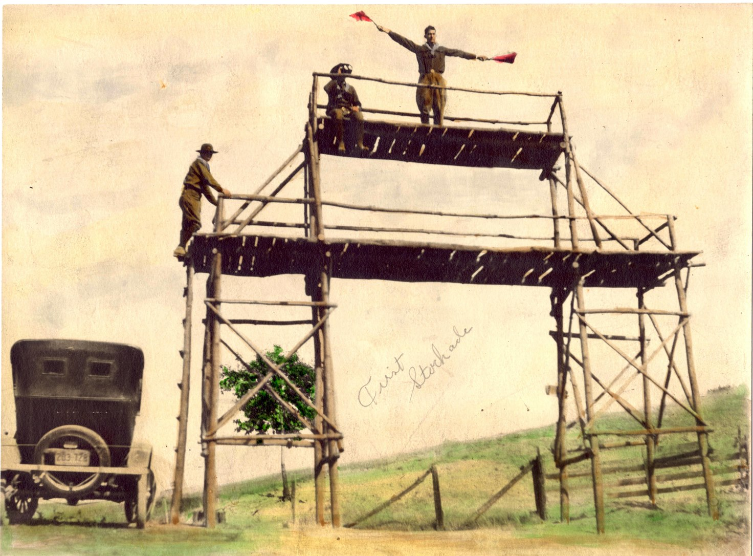 Pole tower at the camp entrance in 1926