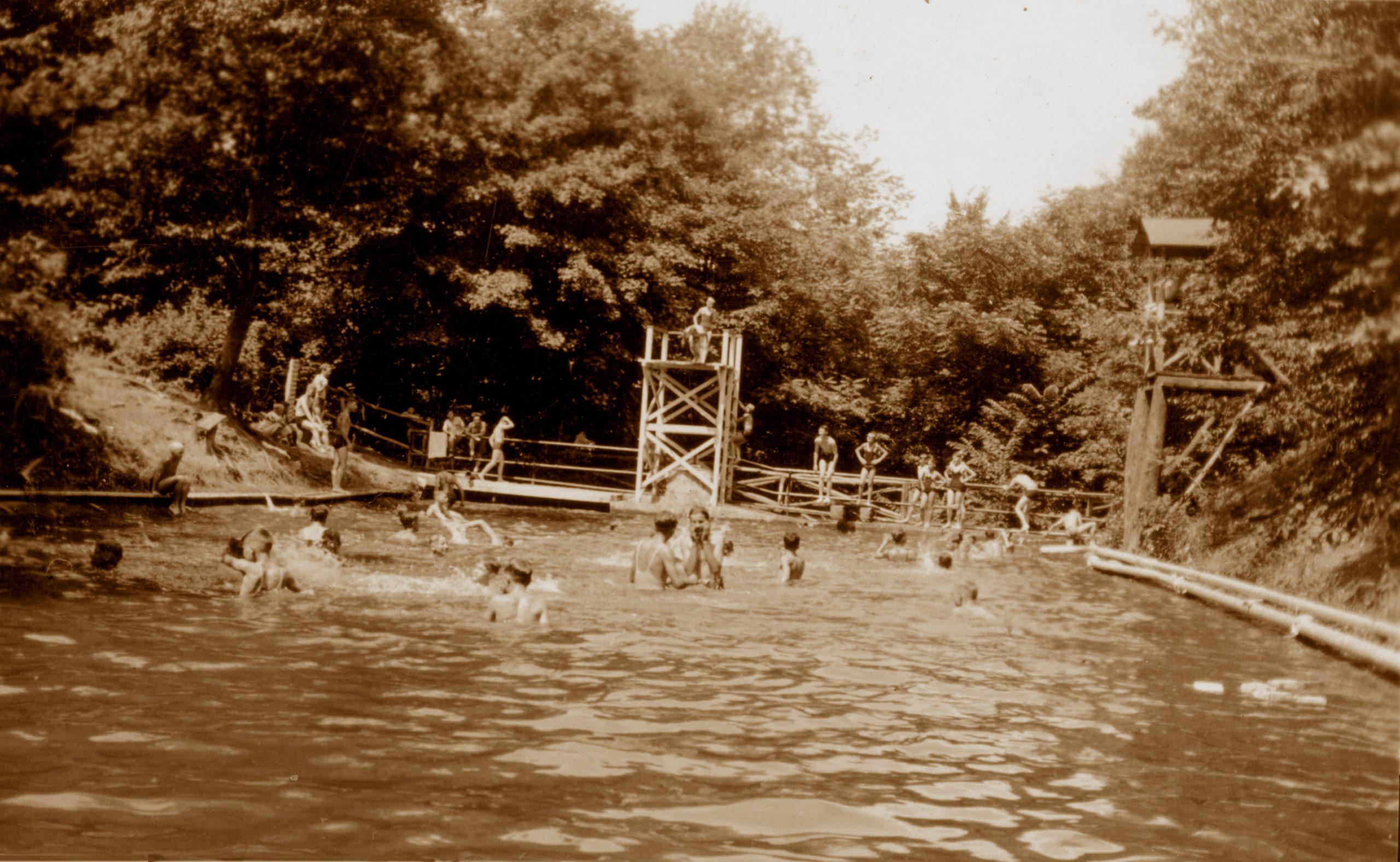 Camp Tuscazoar swimming pool in 1927