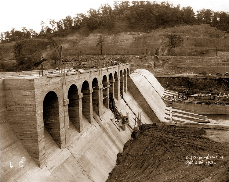 Dover Dam construction in 1936