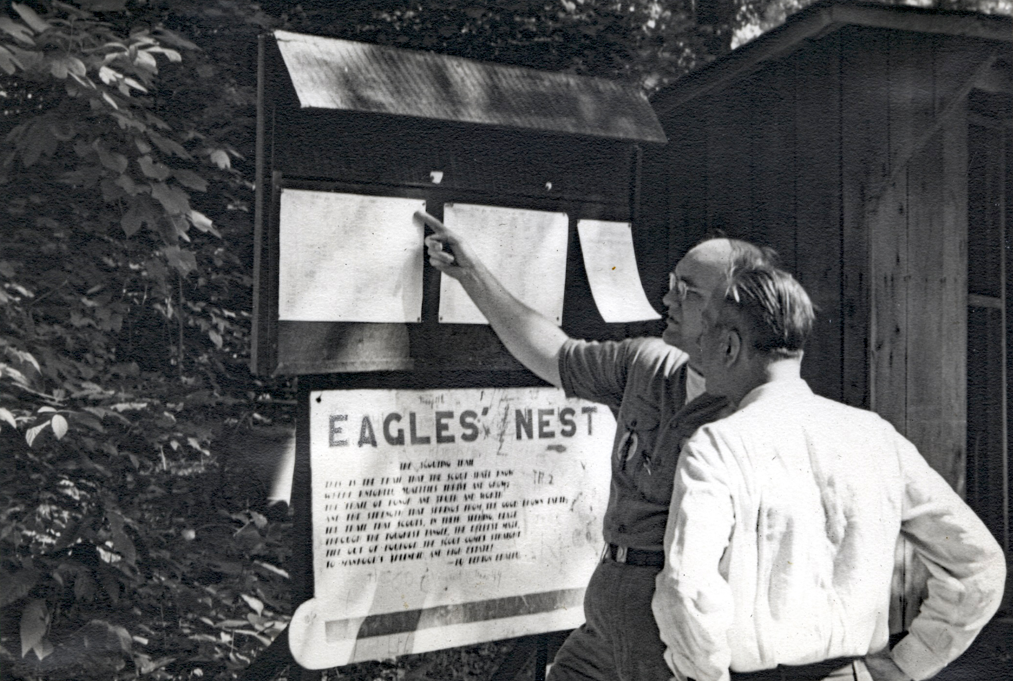 Eagle's Nest campsite sign in 1948