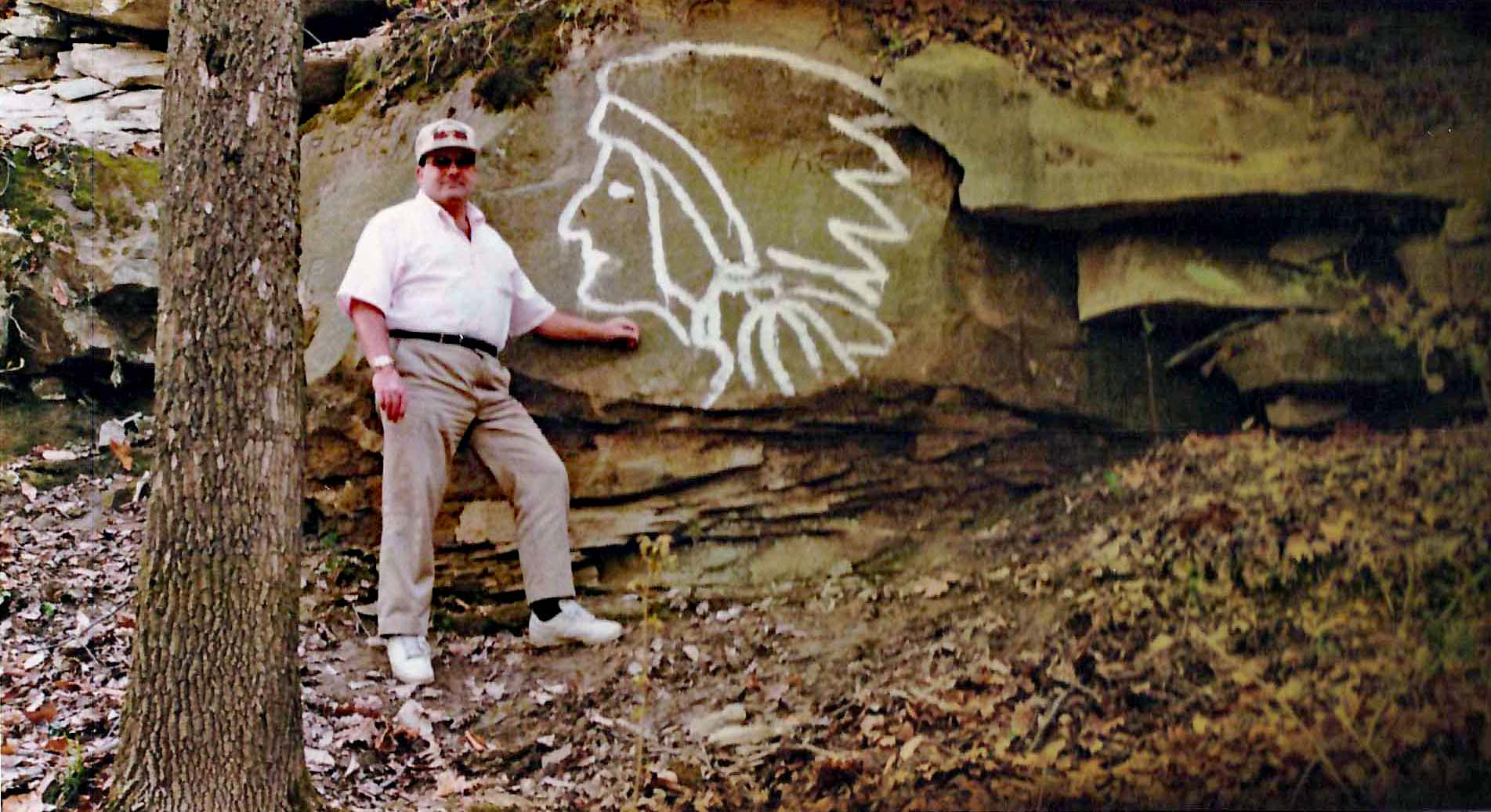 Rex Farrall carving in 1992