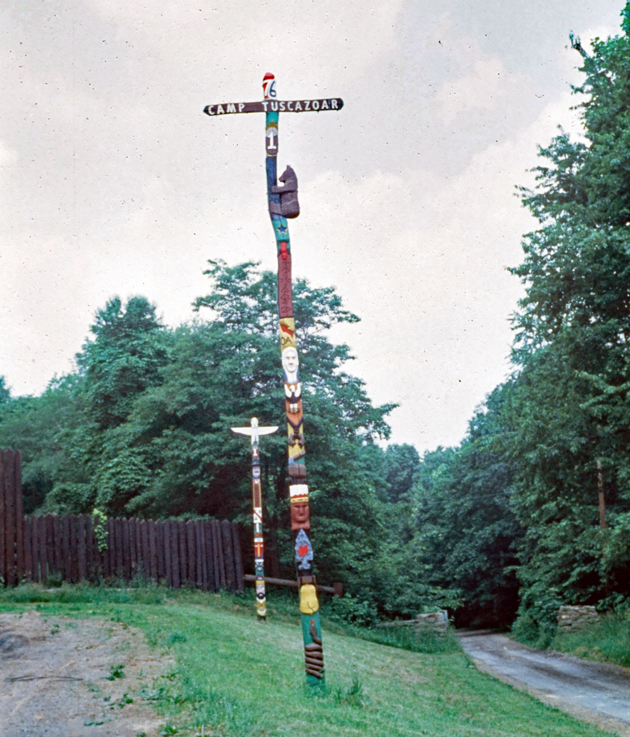 Troop 1 totem poles in the late 1970s